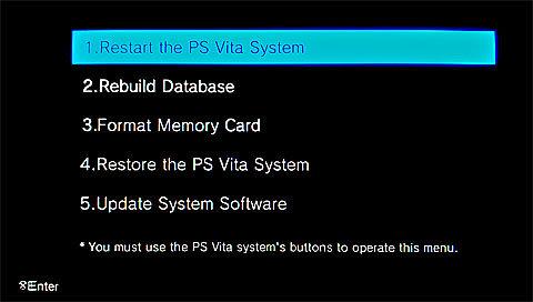 PlayStation Vita Recovery Menu